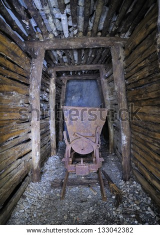Old mine cart - Traversella, Italy - stock photo