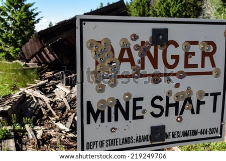 Old  Mining Sign - stock photo