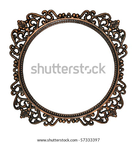 Old mirror frame isolated on white background. Useful as picture frame or border - stock photo