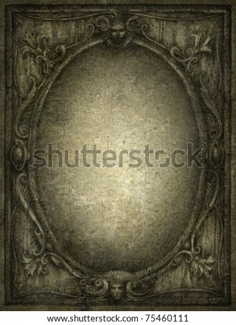 Old mirror. Pencil on paper. - stock photo