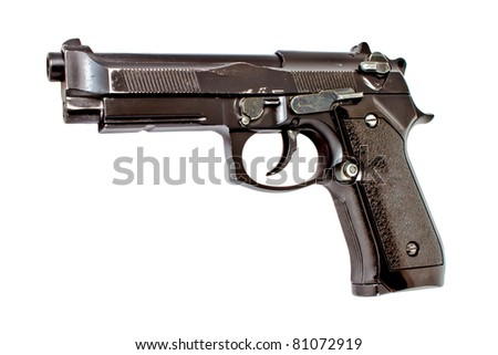 Old 9 mm automatic hand gun - stock photo