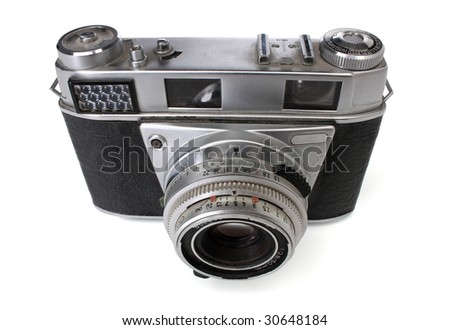 Old 35mm camera. Retro revival image. With clipping path