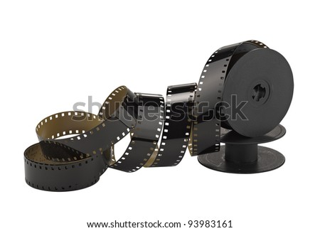 old 8mm cine film and reel; isolated on white (clippin path) - stock photo