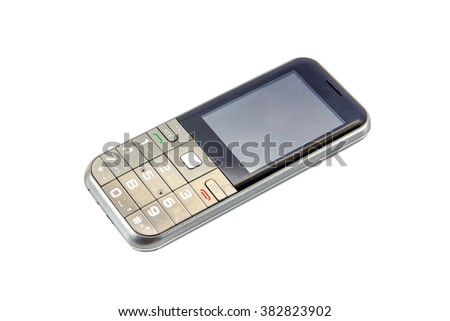 Old mobile phone,Old cell phone isolated on white background - stock photo