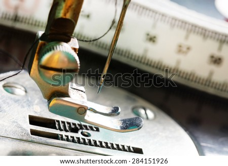 Old model of sewing machine . - stock photo