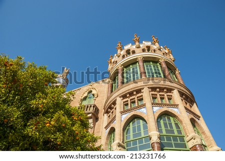 Old modernistic hospital de Sant Pau, Barcelona, Spain - stock photo