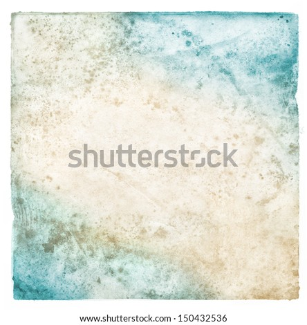 Old moldy paper with dirty stains and spots.  Image displays a cyan to brown gradient. - stock photo