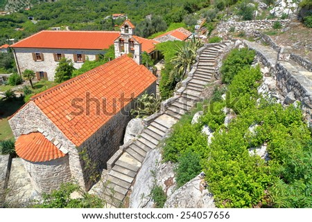 Old  monastery buildings from the Adriatic sea area, Montenegro - stock photo
