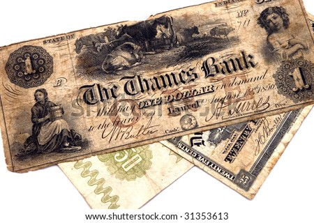 Old money bank notes - stock photo