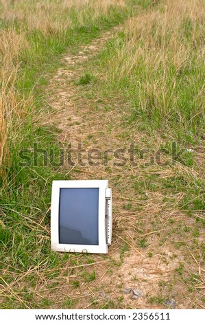 Old monitor in the meadow