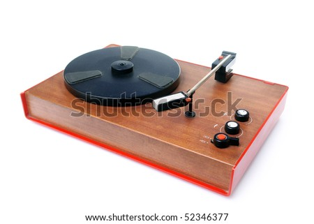 Old mono record player isolated on white background - stock photo