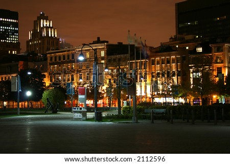 Old Montreal at night - stock photo