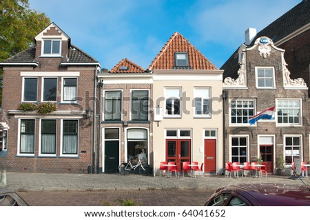 old monumental houses in the streets of zwolle, netherlands