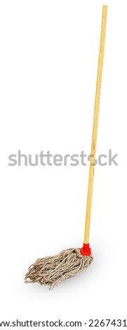 Old mop isolated on white background - stock photo