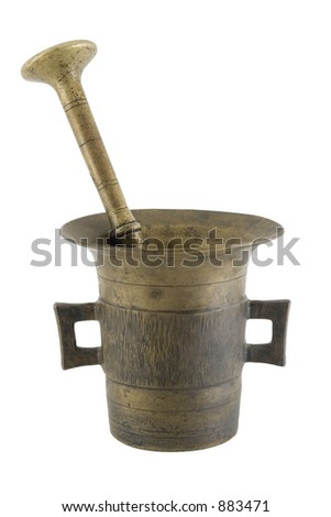 Old mortar and pestle isolated over white with clipping path - stock photo