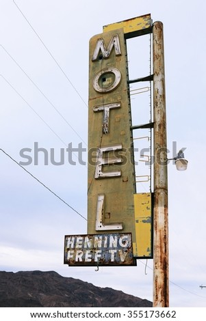 Old motel sign on Route 66, USA - stock photo