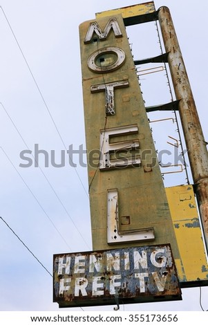 Old motel sign on Route 66, USA,Bagdad Cafe - stock photo