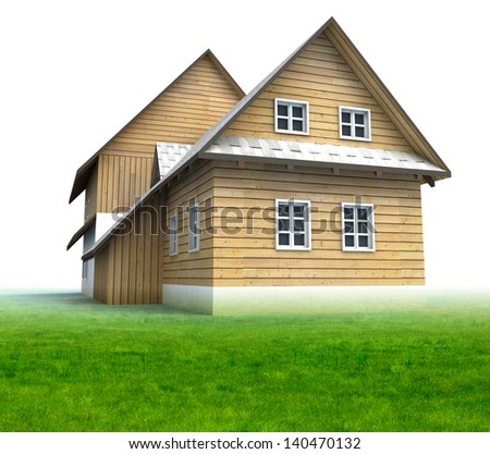 Old mountain hut with grass on white background illustration