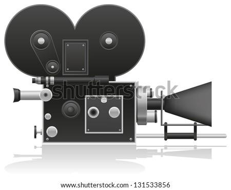 old movie camera vector illustration isolated on white background - stock photo