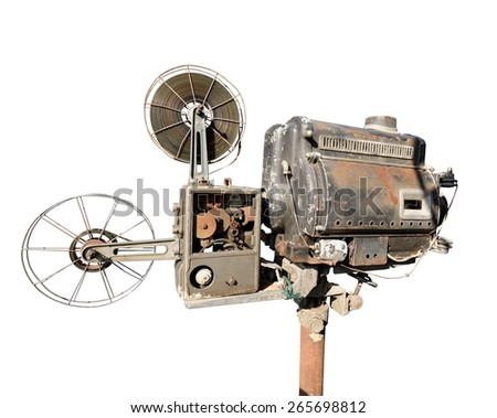old Movie film projector  isolated on white. - stock photo