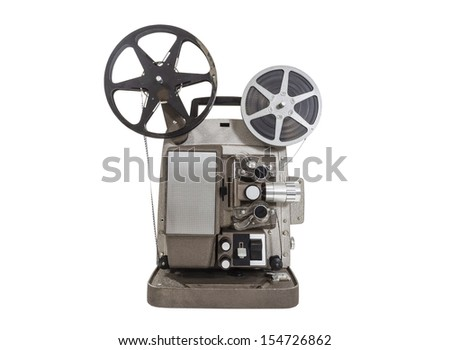 Old movie projector with film reels isolated. - stock photo