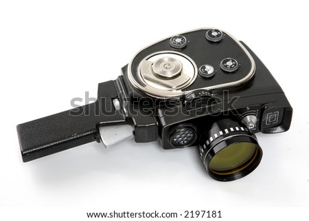 old movies camera isolated on a white background - stock photo