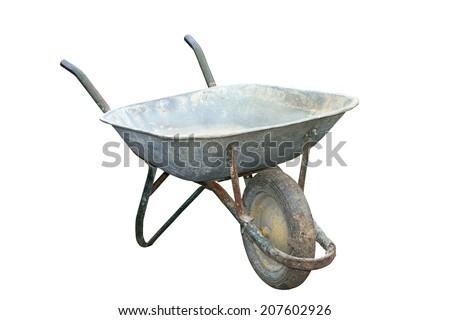 old muddy garden wheelbarrow isolated over white background - stock photo