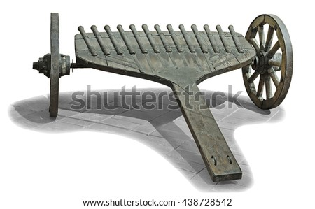 Old multi barrel gun on wooden wheels, isolated on white