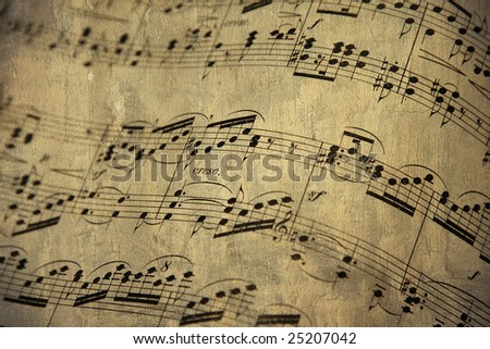 old music sheet for piano - stock photo