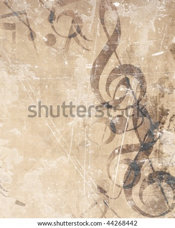 Old music sheet with musical notes on it - stock photo