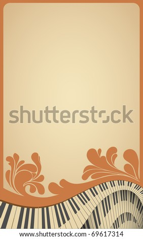 old musical frame with piano keyboard and flourish vintage - stock photo
