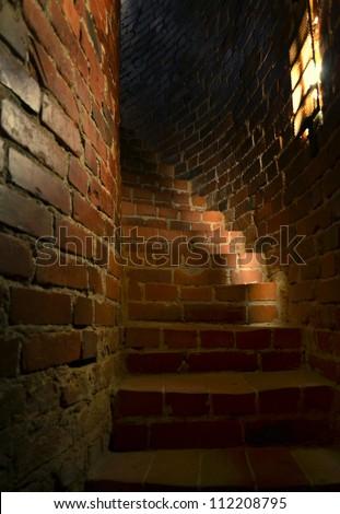 old narrow stairway medieval castle interior