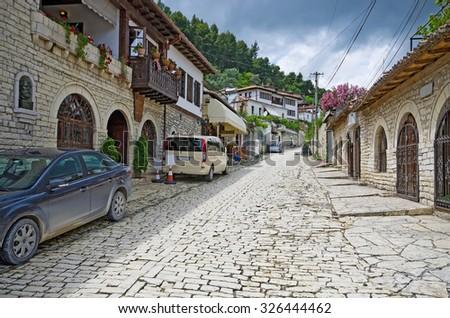 Old narrow streets in Berat, Albania - stock photo