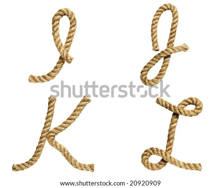 old natural fiber rope bent in the form of letter I, J, K, L