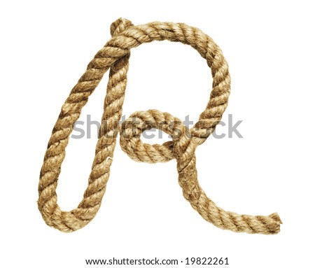 old natural fiber rope bent in the form of letter R - stock photo