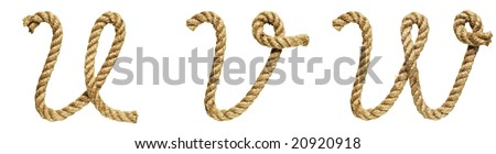 old natural fiber rope bent in the form of letter U, V, W - stock photo