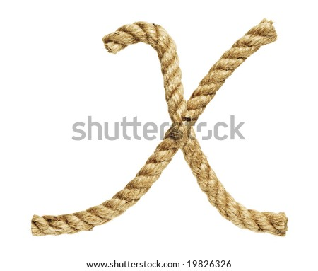 old natural fiber rope bent in the form of letter X - stock photo