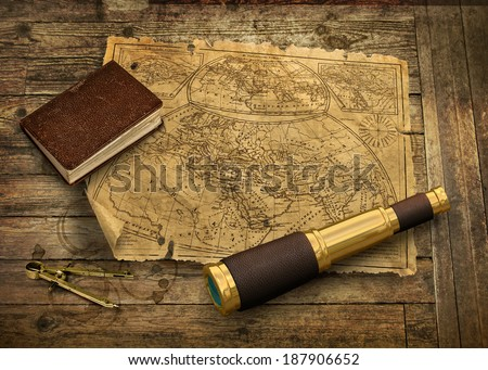 Old nautical map with telescope and logbook, navigation concept - stock photo