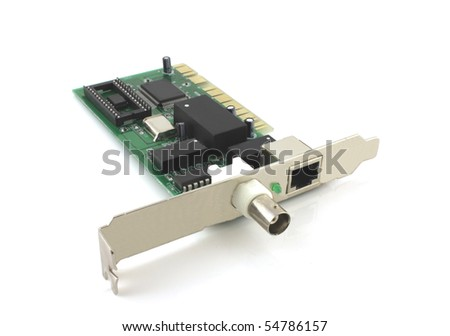 Old network card for computer - stock photo