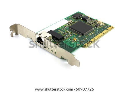 Old network card for computer. Shallow DOF. - stock photo