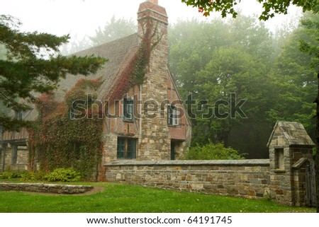 old New England estate house - stock photo