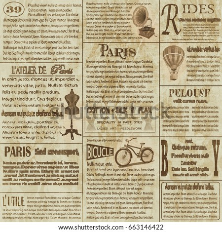 Old newspaper vintage newsprint vector template stock for Old fashioned newspaper template free