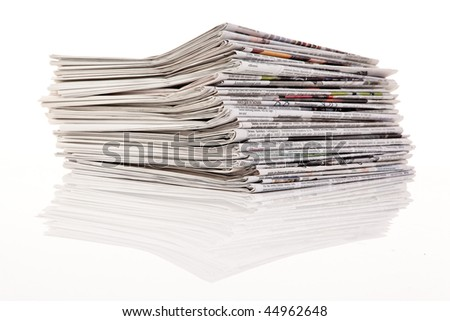 Old newspapers and magazines in a pile