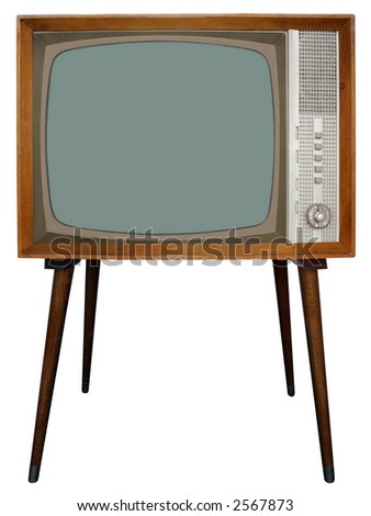 Old Nostalgic Television with clipping path - stock photo