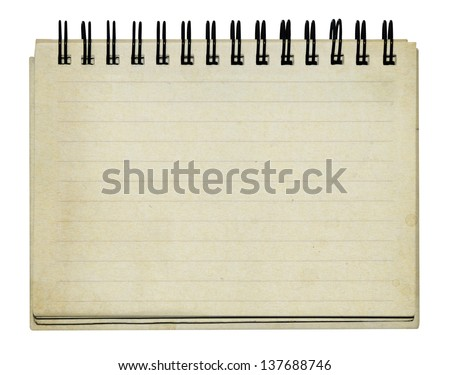 old note book on white background - stock photo