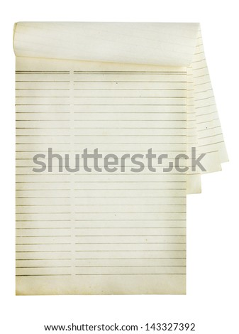 Old notebook isolated on white