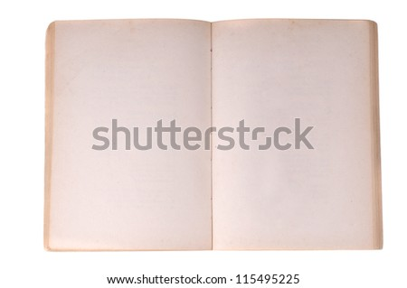 Old notebook open isolated on white background