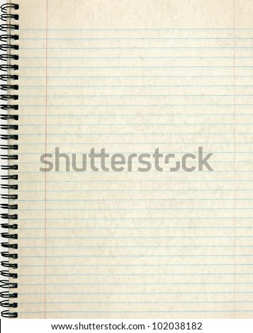 Old notebook page lined paper. - stock photo