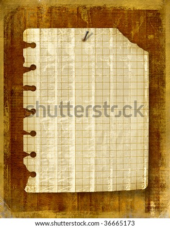 Old notebook sheet attached to wooden wall