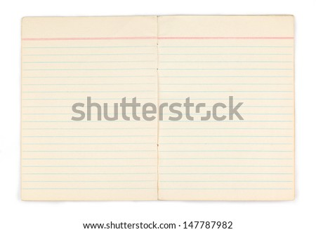 Old notebook with blank yellow pages on white background - stock photo